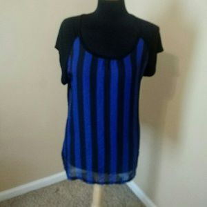 Tops - Blue and Black Striped Shirt (sheer in front)